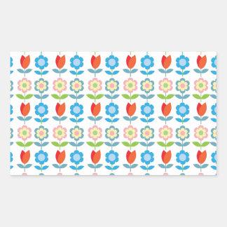 tLittle red tulips scandinavian pattern Rectangular Sticker