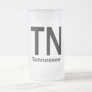 TN Tennessee plain black Frosted Glass Beer Mug