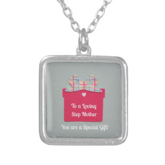 To a Loving Step Mother Square Pendant Necklace