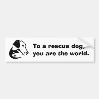 To a rescue dog, you are the world. car bumper sticker