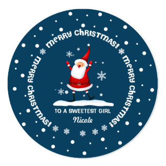 To a Sweetest Girl from Santa Claus Christmas Card
