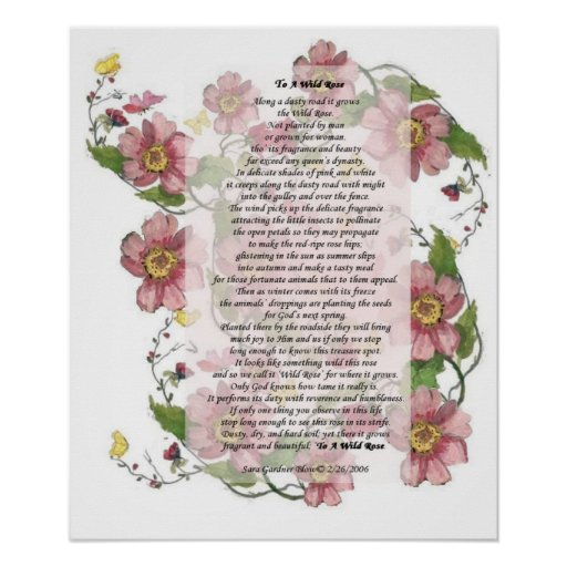 To A Wild Rose Poem Print