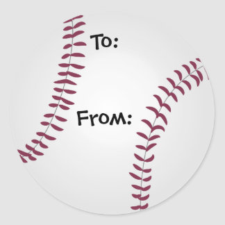 To and From Baseball Gift Tag Stickers Sports Fan
