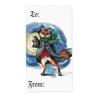 To and From Christmas Fox lantern labels