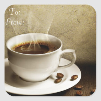To and From Coffee Gift Labels Square Sticker