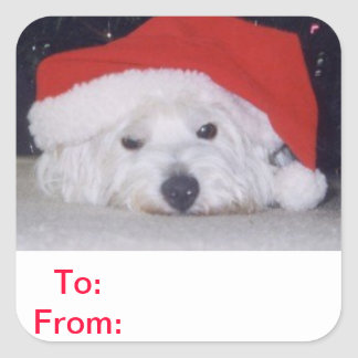 To and From Gift Tags Westie Sticker