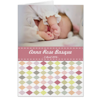 To announce birth to be personalized - Rhombuses Card