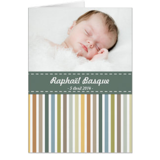 To announce birth to be personalized - Stripes Card