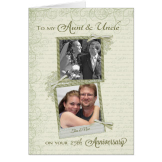 To Aunt & Uncle on _th Anniversary-Custom Then&Now Card