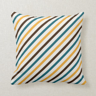 To be alone dark brown teal and or yellow striped throw pillow
