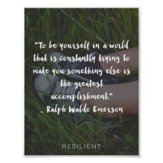 """""""To Be Yourself Emerson"""" Cursive Quote Poster"""