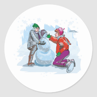 To Build a Snowman Classic Round Sticker