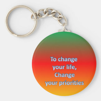 To change  your life,  Change  your priorities Keychain