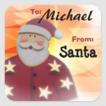 To Child From SANTA Gift Label Red and Gold v6 Square Stickers