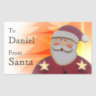 To Child From SANTA Red Gold Trees Stars V6B Rectangular Sticker