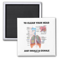 To Clear Your Head Just Inhale & Exhale 2 Inch Square Magnet