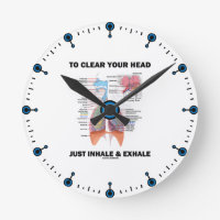 To Clear Your Head Just Inhale & Exhale (Respire) Round Clock