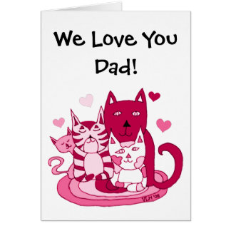 To Dad From The Cats Valentine's Day Card