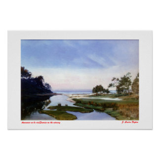To dawn in laughs/Sunrise on the estuary Poster