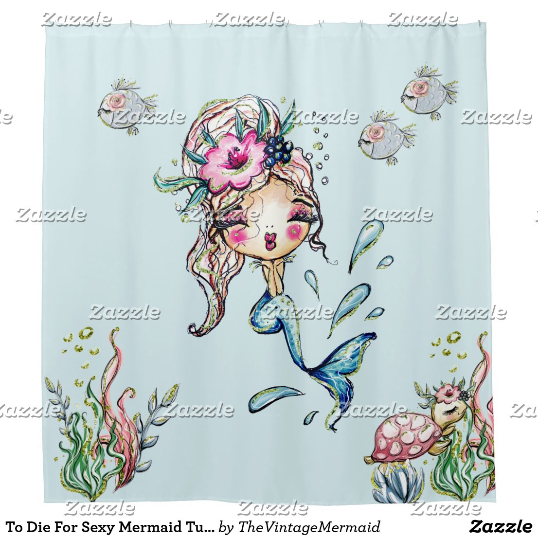 To Die For Sexy Mermaid Turtle Fish Shower Curtain