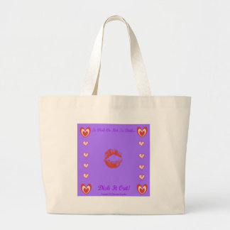 To Dish Or Not To Dish by Diamante Lavendar Large Tote Bag