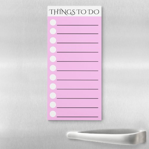 To do lined with white circle check box pink magnetic notepad