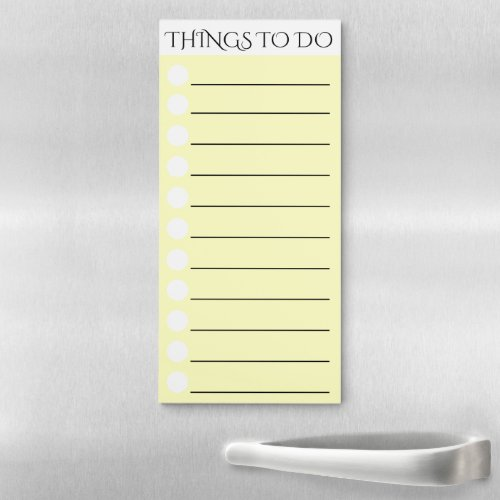 To do lined with white circle check box yellow magnetic notepad