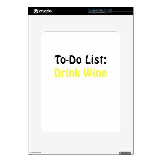 To Do List Drink Wine iPad Skin