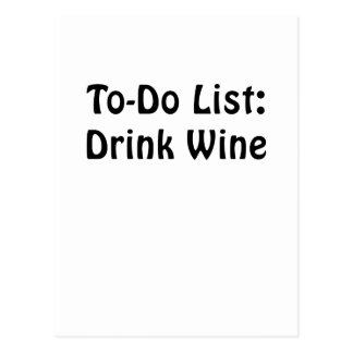 To Do List Drink Wine Postcard
