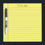 """To Do List Dry-Erase Board<br><div class=""""desc"""">Old school yellow ruled note paper graphic. Classic look that can be used for a grocery list,  reminder list or to do list.  This is a photo image of ruled note  paper,  not the real thing. Text at the top is fully customizable.</div>"""