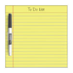 To Do List Dry-Erase Board<br><div class='desc'>Old school yellow ruled note paper graphic. Classic look that can be used for a grocery list,  reminder list or to do list.  This is a photo image of ruled note  paper,  not the real thing. Text at the top is fully customizable.</div>