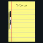 "To Do List Dry-Erase Board<br><div class=""desc"">Old school yellow ruled note paper graphic. Classic look that can be used for a grocery list, reminder list or to do list. This is a photo image of ruled note paper, not the real thing. Text at the top is fully customizable. One of Zazzle&#39;s best selling dry erase boards....</div>"