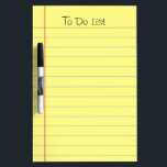 """To Do List Dry-Erase Board<br><div class=""""desc"""">Old school yellow ruled note paper graphic. Classic look that can be used for a grocery list, reminder list or to do list. This is a photo image of ruled note paper, not the real thing. Text at the top is fully customizable. One of Zazzle&#39;s best selling dry erase boards....</div>"""