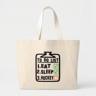 To Do List Eat Sleep Hockey Large Tote Bag
