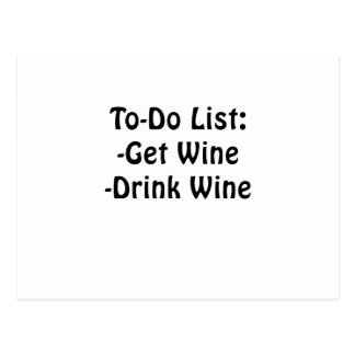 To Do List Get Wine Drink Wine Postcard