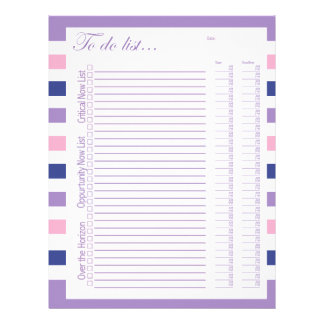 To Do List Purple, Navy Blue and Pink Strips 8x11 Letterhead