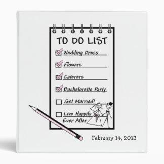 To Do List Wedding Planner Vinyl Binders