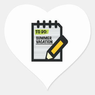 To Do Summer Vacation Heart Sticker