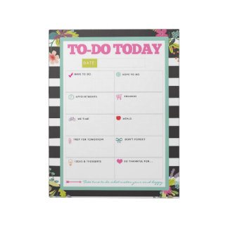 To-Do Today - Black & White Stripe Floral Notepad