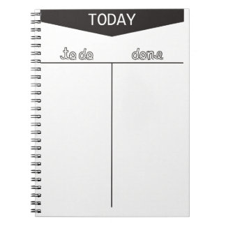 TO DO TODAY DONE LISTS ORGANIZE MOTIVATIONAL NOTEBOOK
