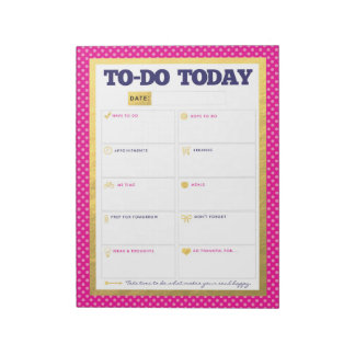To-Do Today - Navy Pink Gold Dot Notepad