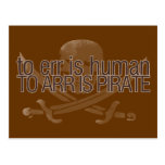 To err is human, to arr is pirate postcard