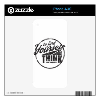 To Find Yourself, Think For Yourself iPhone 4S Decal