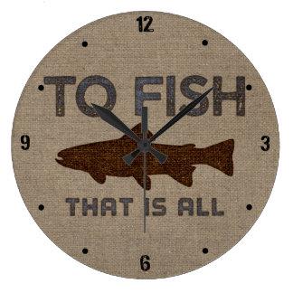 To Fish Burlap Large Clock