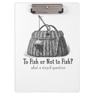 to fish or not stupid question vintage tackle box clipboard
