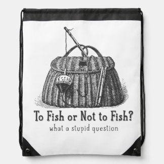 to fish or not stupid question vintage tackle box drawstring bag