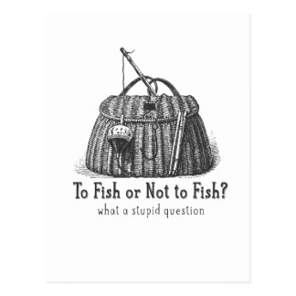 to fish or not stupid question vintage tackle box postcard