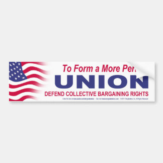 To Form a More Perfect UNION Car Bumper Sticker