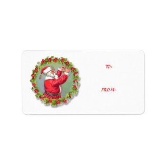 To From Vintage Santa Wreath Christmas Tag Address Label