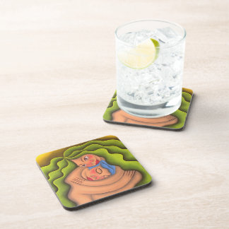 To give and to receive painting oil art beverage coaster